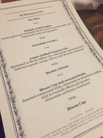 gin night menu